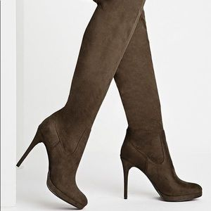 Olive Green Thigh High Faux Suede Heel Boots